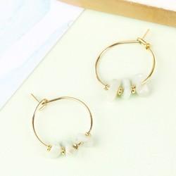 Orelia Hoop Earrings with Semi-Precious Beads