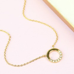 Orelia Open Crystal Circle Pendant Necklace