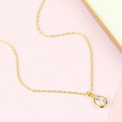 Orelia Tiny Crystal Teardrop Ditsy Necklace
