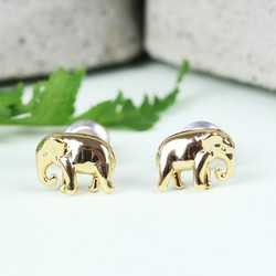 Orelia Tiny Gold Elephant Stud Earrings