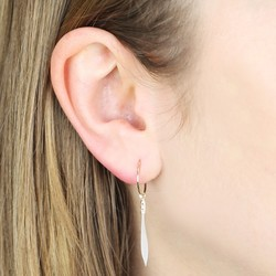 Orelia Mini Hoop and White Feather Earrings
