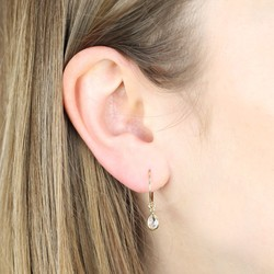 Orelia Mini Hoop Earrings with Teardrop Crystal Charms