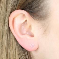 Orelia Tiny Silver Open Heart Stud Earrings