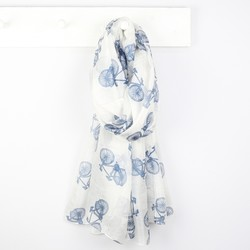 Antique White Silk Scarf with Bicycle Print