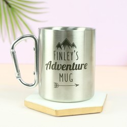 Personalised Stainless Steel Karabiner Mug
