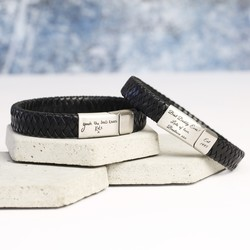 Men's Black Leather Bracelet Engraved with Your Handwriting - Brushed