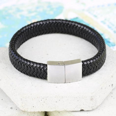 Men's Woven Black Leather Bracelet with Block Clasp