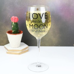 Sass & Belle 'To The Moon and Back' Wine Glass