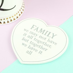 Sass & Belle 'Family Have It All' Wooden Heart Coaster