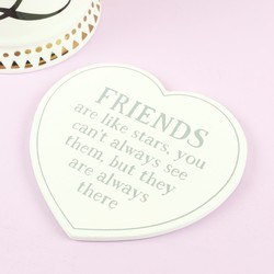 Sass & Belle 'Friends are Like Stars' Wooden Heart Coaster