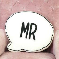 Sass & Belle 'Mr' Speech Bubble Quote Cushion