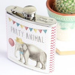 Sass & Belle Personalised Party Elephant Hip Flask
