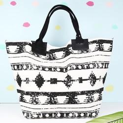 South Beach Black & White Aztec Canvas Bag