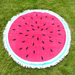 South Beach Round Watermelon Beach Towel