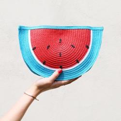 South Beach Straw Watermelon Clutch
