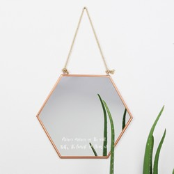Engraved Large Geometric Copper Mirror