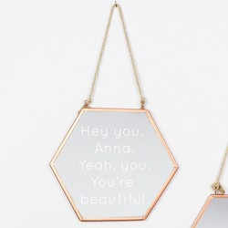 Engraved Small Geometric Copper Mirror