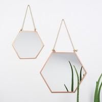 Small Geometric Copper Mirror