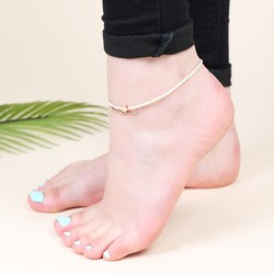 Rose Gold and Natural Bead Star Anklet