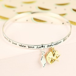 'A Friend Is Someone' Meaningful Words Charm Bangle with Name