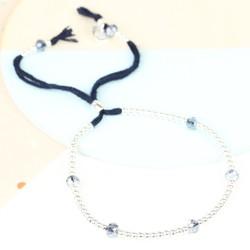 Bead & Crystal Bracelet in Navy & Silver