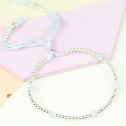 Bead & Crystal Bracelet in Pastel Blue & Silver