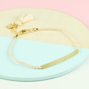 Brushed Gold Curved Bar and Stone Cord Bracelet