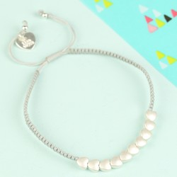 Children's Silver Hearts Friendship Bracelet