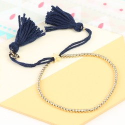 Dainty Links Star Bracelet in Navy & Gold