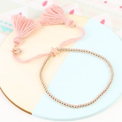 Dainty Links Star Bracelet in Pink & Rose Gold