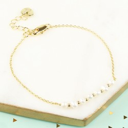 Freshwater Pearl Gold Chain Bracelet