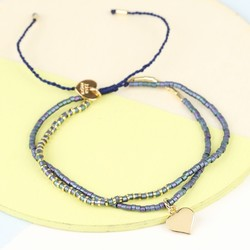 Gold & Navy Double Layer Seed Bead & Heart Bracelet