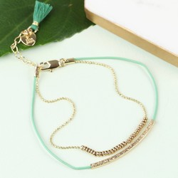 Leather and Ball Chain Curved Bar Tassel Bracelet in Green and Gold