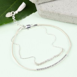Leather and Ball Chain Curved Bar Tassel Bracelet in Stone and Silver