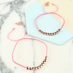 Mother and Child Rose Gold Hearts Friendship Bracelets