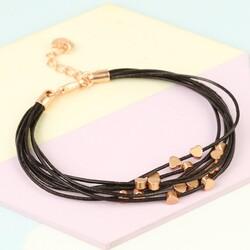 Multi-Strand Dainty Heart Bracelet in Dark Brown and Rose Gold