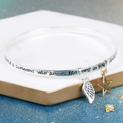 'A Friend Is Someone' Meaningful Words Bangle with Initial Charm