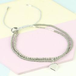 Silver & Grey Double Layer Seed Bead & Heart Bracelet