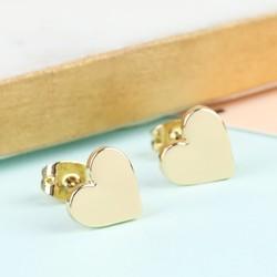Shiny Heart Stud Earrings in Gold