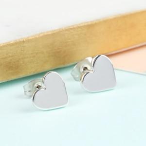 Shiny Heart Stud Earrings in Silver