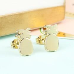 Shiny Pineapple Stud Earrings in Gold