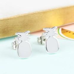 Shiny Pineapple Stud Earrings in Silver