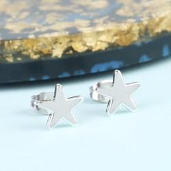 Shiny Star Stud Earrings in Silver