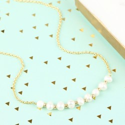 Freshwater Pearl Gold Chain Necklace
