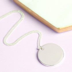 Short Small Silver Disc Necklace