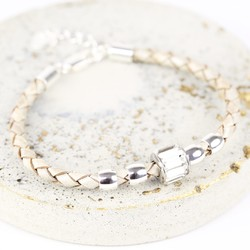 Crystal Bead Leather Bracelet in Silver and Grey