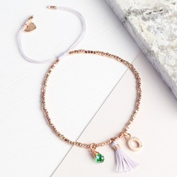 Rose Gold Birthstone and Tassel Bracelet with Initial Charm