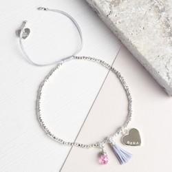 Personalised Silver Birthstone Bracelet with Tassel