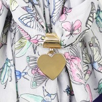 Gold Heart Scarf Ring