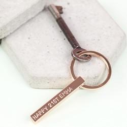Personalised Shiny Rose Gold Bar Keyring